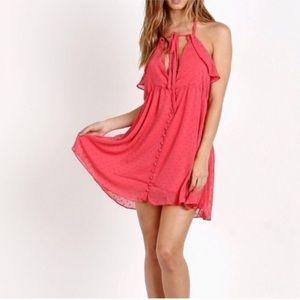 For love & lemons 'tarta' coral pink halter mini